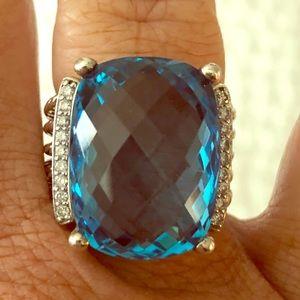 David Yurman Wheaton Blue Topaz w/ Diamonds Ring